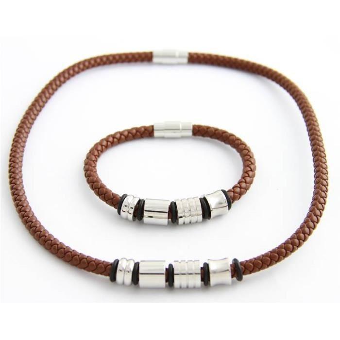 parure bracelet et collier femme ou homme cuir marron et acier inoxydable neuf. Black Bedroom Furniture Sets. Home Design Ideas