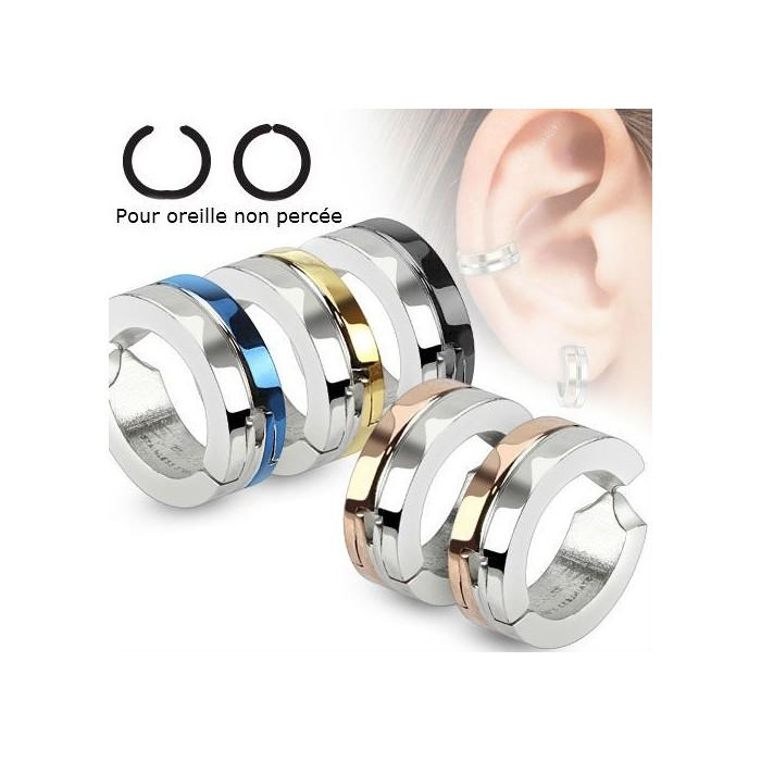 faux piercing fausse paire boucles d 39 oreilles homme ado acier oreille non perc e. Black Bedroom Furniture Sets. Home Design Ideas