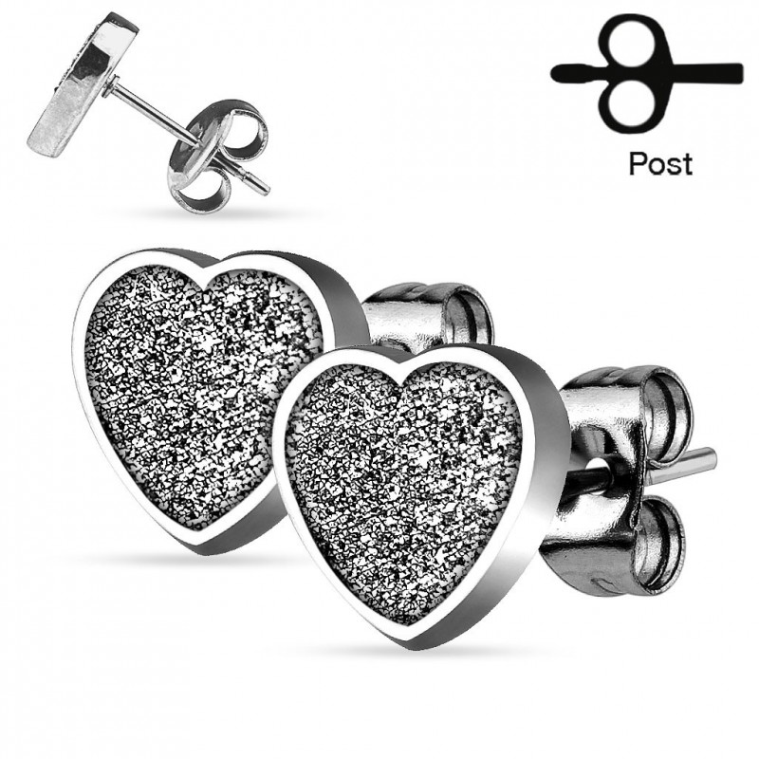 paire boucles d 39 oreilles chic pour femme ado acier coeur paillet. Black Bedroom Furniture Sets. Home Design Ideas
