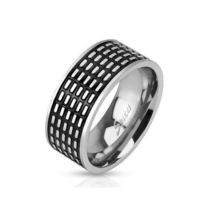 bague anneau homme acier massif pas cher originale traits noir m3062. Black Bedroom Furniture Sets. Home Design Ideas