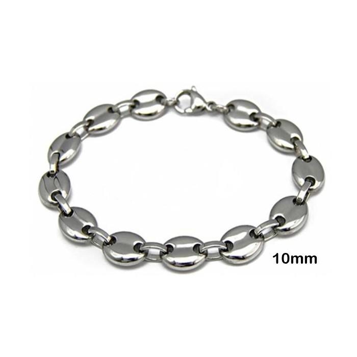 Bracelet homme acier inoxydable maille graine grain de - Chaine graine de cafe or homme ...