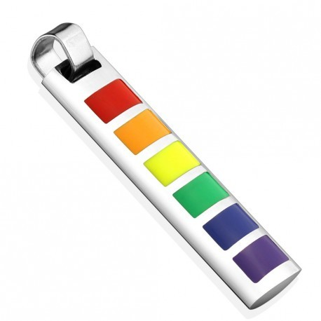 PENDENTIF HOMME FEMME ACIER INOXYDABLE RECTANGULAIRE GAY PRIDE + 1 CHAINE