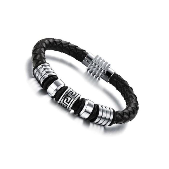 bracelet homme cuir tress et perle grecque fermoir acier. Black Bedroom Furniture Sets. Home Design Ideas