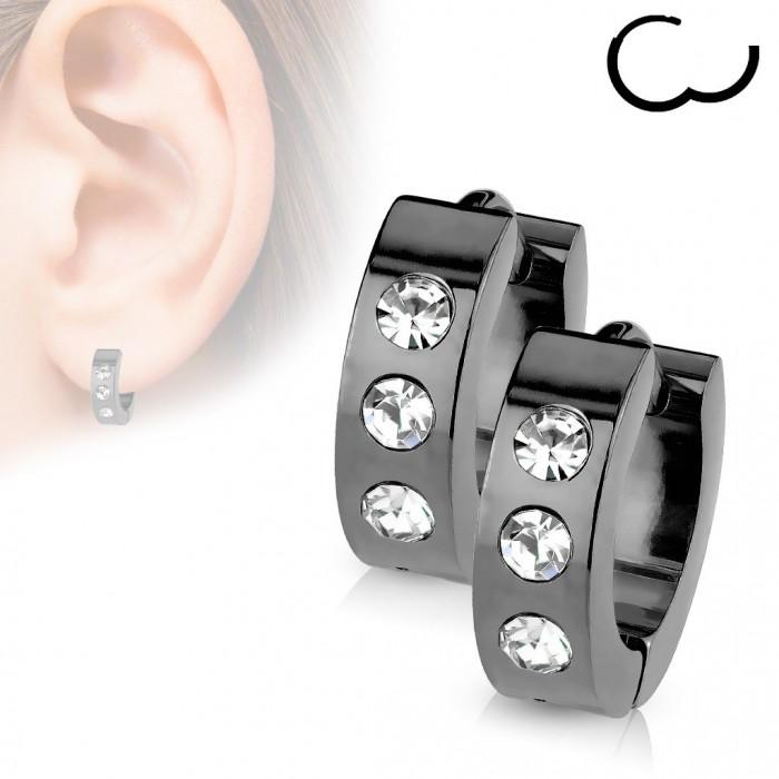 prix le plus bas fb4f8 476a1 Paire boucles d'oreilles créole homme femme acier plaqué noir 3 zircon