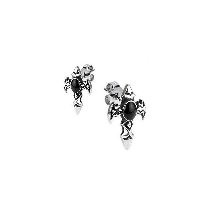 paire boucle d 39 oreille pour homme femme acier croix latine. Black Bedroom Furniture Sets. Home Design Ideas