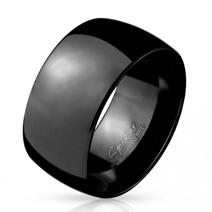 bague anneau pour homme acier inoxydable toute noire large dome 10mm. Black Bedroom Furniture Sets. Home Design Ideas