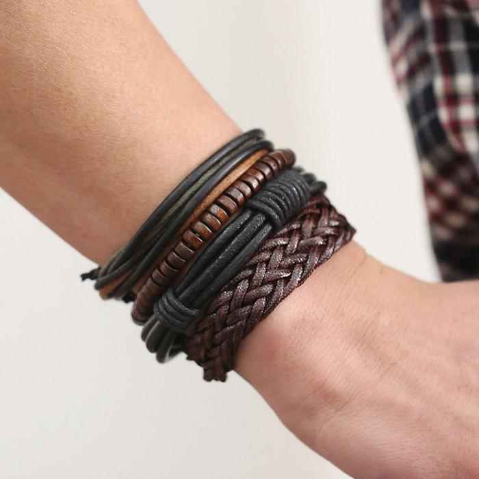 94685c58ac80b Bracelet pour homme cuir noir et marron perle multi rang 20cm réglable