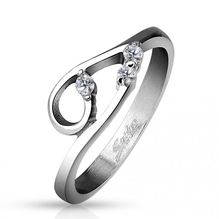bague anneau femme acier inoxydable pierre zircon boucle sexy glamour. Black Bedroom Furniture Sets. Home Design Ideas