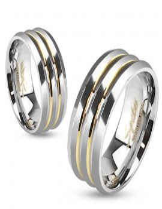Bague anneau de fiançailles homme titane et 2 lignes plaqué or carats