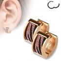 Paire boucles d'oreilles femme créole acier plaqué rose cuivré zébré