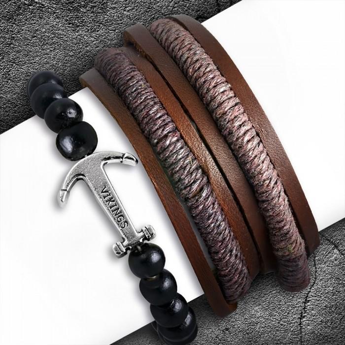 Pré-commander nouvelle version meilleure collection Ensemble 3 bracelets homme cuir marron et perles noires ancre viking