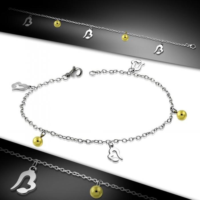 bracelet chaine de cheville femme acier plaqu or breloque coeur boule. Black Bedroom Furniture Sets. Home Design Ideas