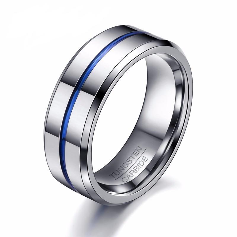 énorme réduction 161fa db419 Bague alliance mariage homme carbure de tungstène centre ligne bleu