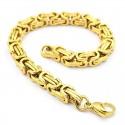 Bracelet homme plaqué or maille byzantine bling rappeur 23cm 9mm