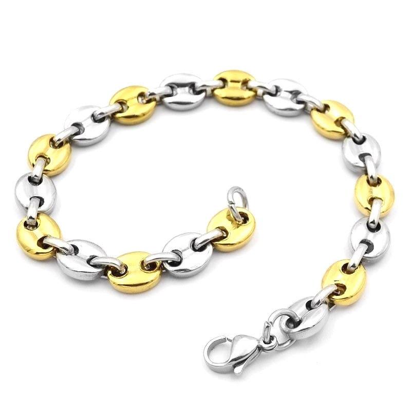 Bracelet graine de cafe homme plaque or