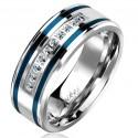 Bague anneau de fiançailles promesse homme acier lignes bleues zircons