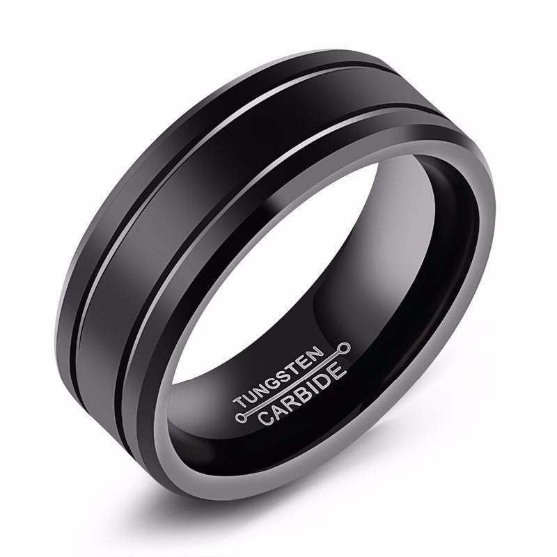 commercialisable beau look aspect esthétique Bague anneau de mariage homme carbure tungstène noir mate double ligne