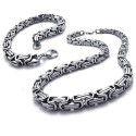 Parure chaine & bracelet homme acier inoxydable maille byzantine bling