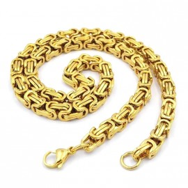 Chaine homme plaqué or maille byzantine bling rappeur 9mm 63cm