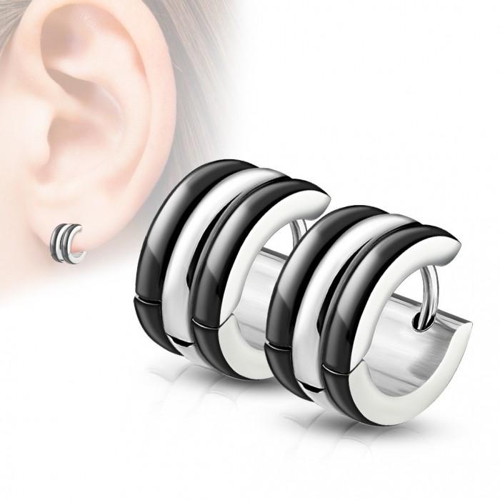 super populaire 269ae fb0b8 Paire boucle d'oreille femme homme acier et plaqué noire créole chic