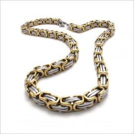 Chaine homme acier inoxydable plaqué or maille byzantine bling rappeur