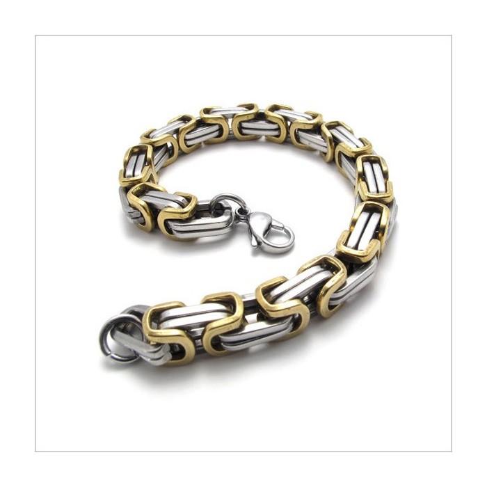bracelet homme acier inoxydable et plaqu or byzantine. Black Bedroom Furniture Sets. Home Design Ideas