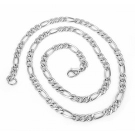 Chaine collier homme femme acier inoxydable maille figaro 5mm 50cm