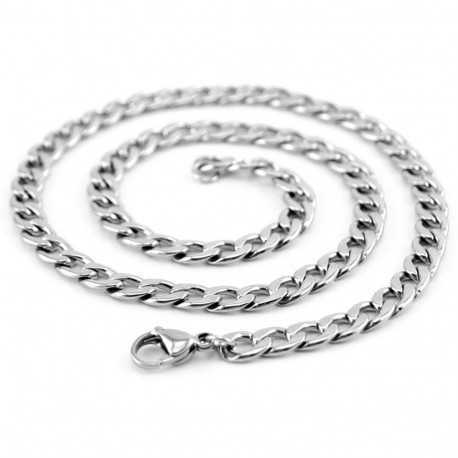 Chaine homme acier inoxydable couleur argent maille figaro 70cm 6mm