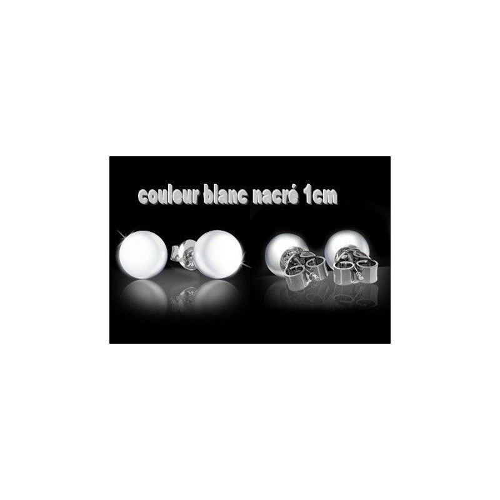 paire boucles d 39 oreilles pour femme ado argent 925 et perle de culture blanche 1cm neuf. Black Bedroom Furniture Sets. Home Design Ideas
