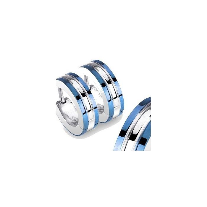 paire boucles d 39 oreilles pour homme ado en acier 2 lignes plaque bleu. Black Bedroom Furniture Sets. Home Design Ideas