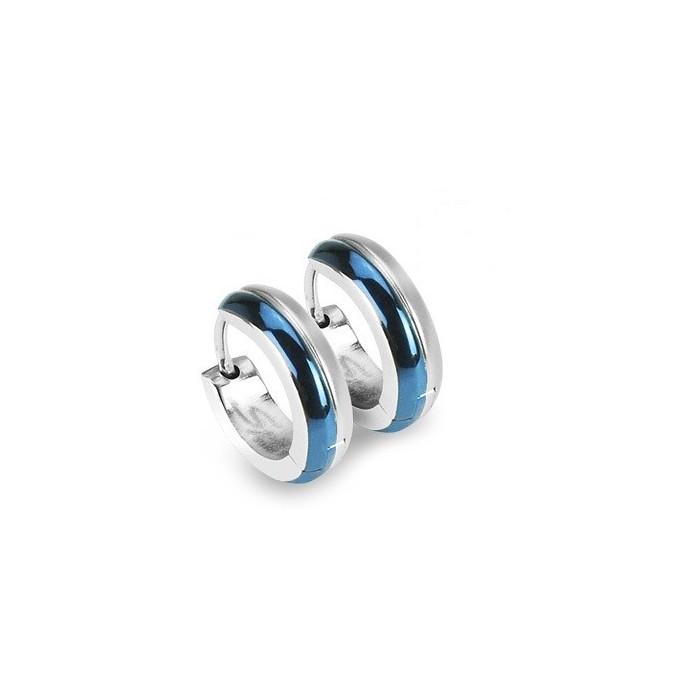 paire boucles d 39 oreilles homme femme bicolore acier et plaque bleu. Black Bedroom Furniture Sets. Home Design Ideas