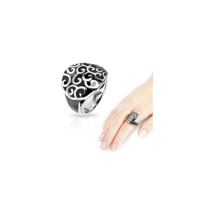 bague anneau chic pour femme ado acier agate onyx noir a spirales. Black Bedroom Furniture Sets. Home Design Ideas