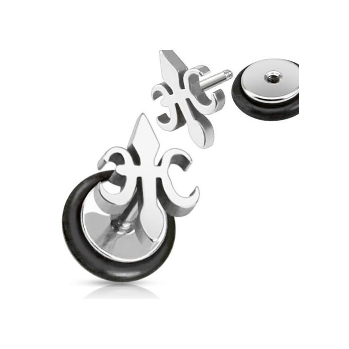 paire boucle d 39 oreille homme acier puce ronde noir vis croix fleur de lys faux piercing. Black Bedroom Furniture Sets. Home Design Ideas