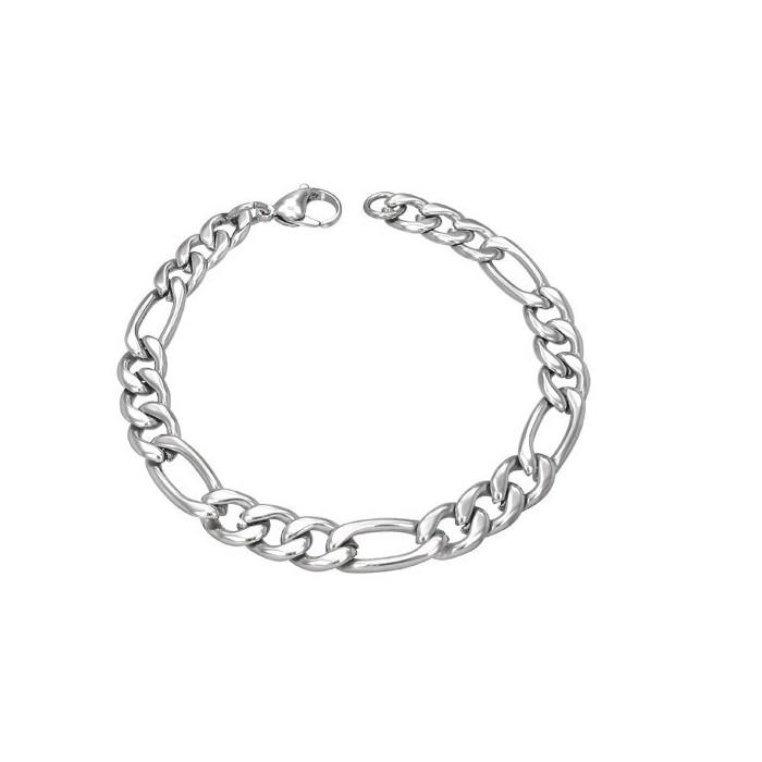 grossiste 56321 7ac84 Bracelet gourmette femme homme acier maille figaro argent pas cher