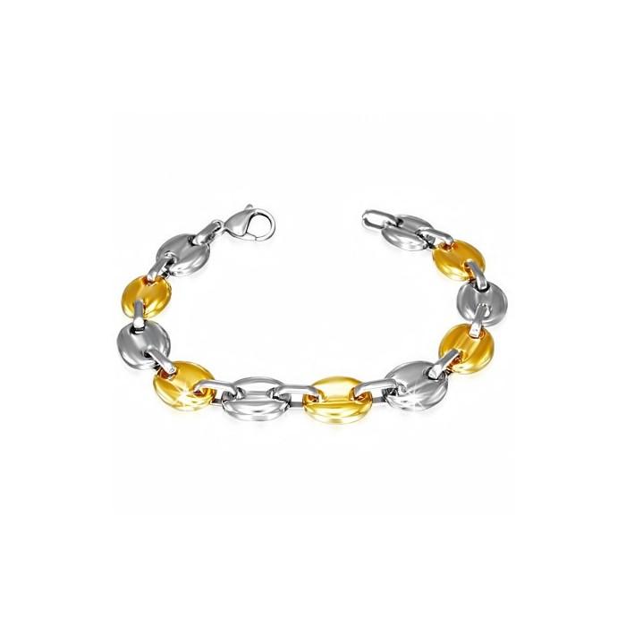 bracelet femme acier plaque or large grains de cafe 10mm. Black Bedroom Furniture Sets. Home Design Ideas