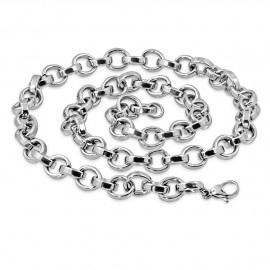 CHAINE COLLIER HOMME ACIER MASSIF MAILLONS ROND OVALE ROLO 10mm 60cm