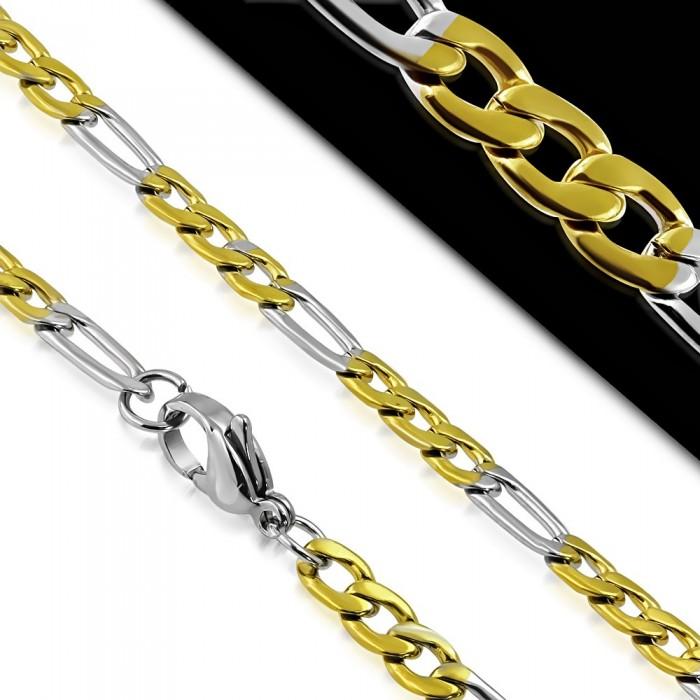 Grande chaine pour homme acier plaque or maillon figaro - Plaque acier 5mm ...