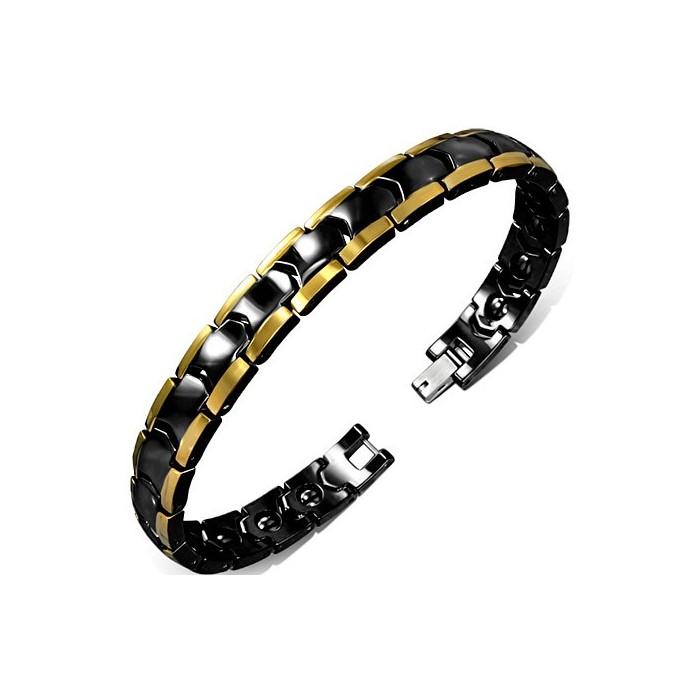 bracelet gourmette pour homme ceramique noir plaque or. Black Bedroom Furniture Sets. Home Design Ideas