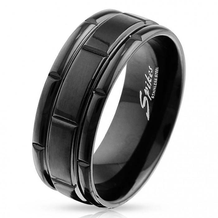 bague anneau pour homme titane massif gaufrage plaque noir. Black Bedroom Furniture Sets. Home Design Ideas